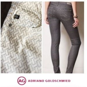 AG Adriano Goldschmeid White Silver Zig Zag Jeans
